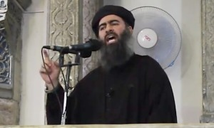 Abu Bakr al-Baghdadi durante un discorso