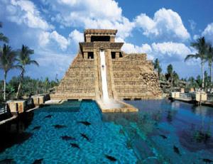 Un'immagine del Tempio Maya all'interno dell'Atlantis Watescape