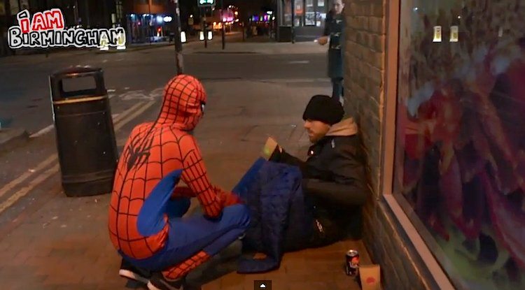 spiderman-feeds-homeless-IamBirmingham-YouTube