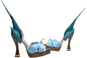 Parakeet wing silk peep toe sandals by Caroline Groves