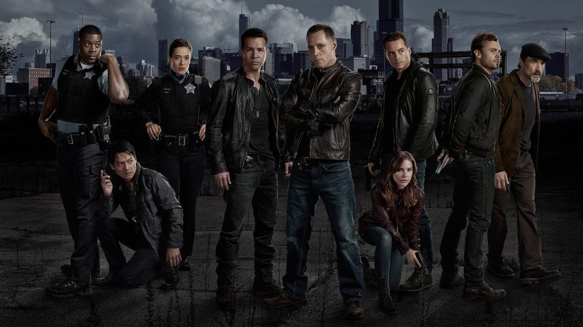 CHICAGO P.D. -- Season 1 -- Pictured (L-R): LaRoyce Hawkins as Officer Kevin Atwater, Archie Kao as Sheldon Jin, Marina Squerciati as Officer Kim Burgess, Jon Seda as Det. Antonio Dawson, Jason Beghe as Sgt. Hank Voight,  Sophia Bush as Det. Erin Lindsay, Jesse Lee Soffer as Det. Jay Halstead, Patrick Flueger as Det. Adam Ruzek and Elias Koteas as Det. Alvin Olinksy -- Photo by: Paul Drinkwater/NBC.
